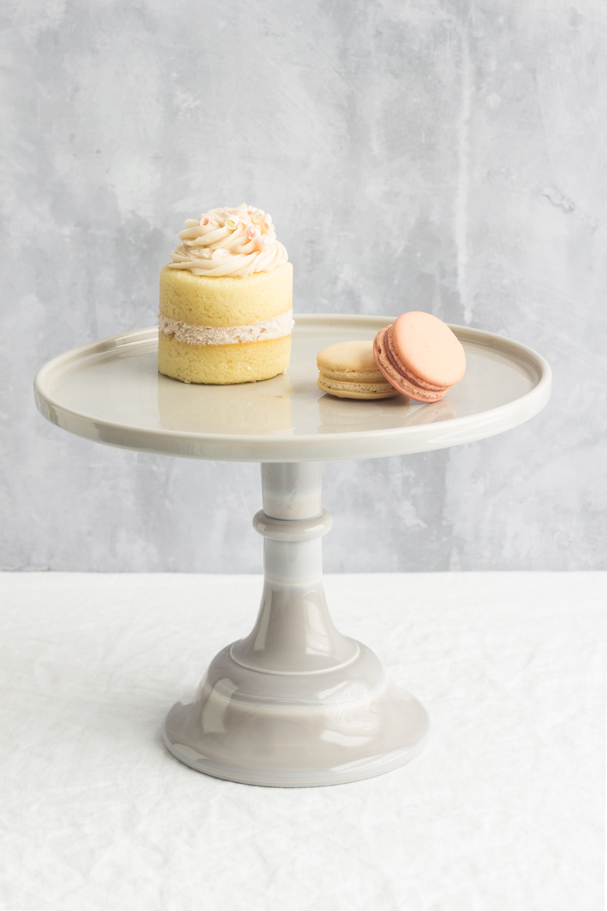 Grey cake stand with treats