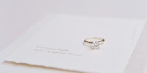 Engagement ring on invitation