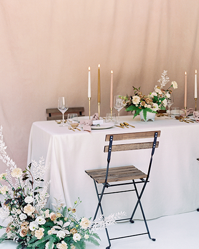 Wedding reception table with blush details
