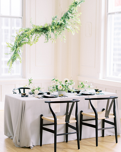 Modern blue and black wedding inspiration at the Cannon Room in Raleigh