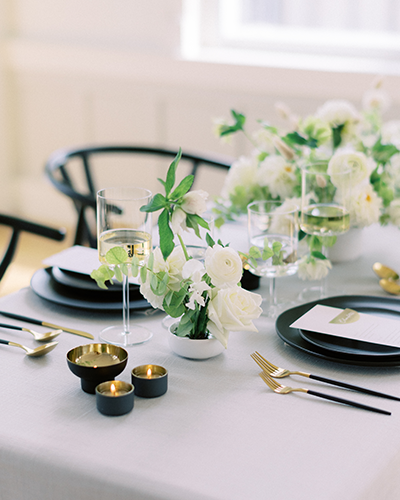 Modern and organic wedding reception table