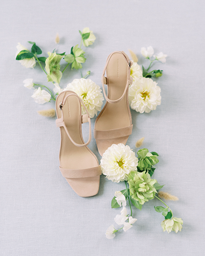 Nude wedding heels with flowers