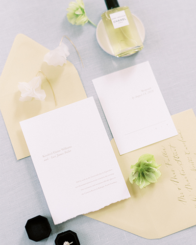 Wedding invitation suite with ring and perfume