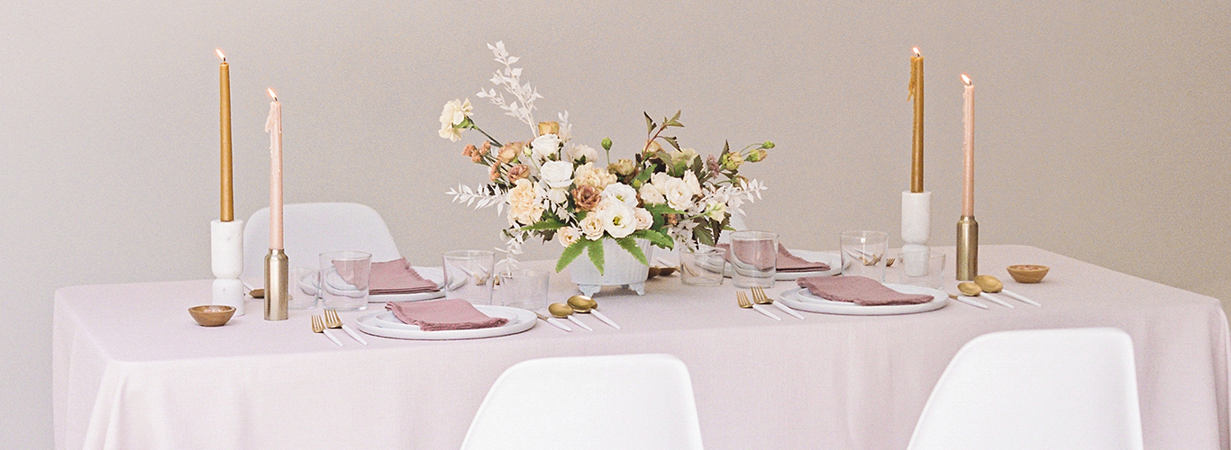 Modern blush wedding table idea
