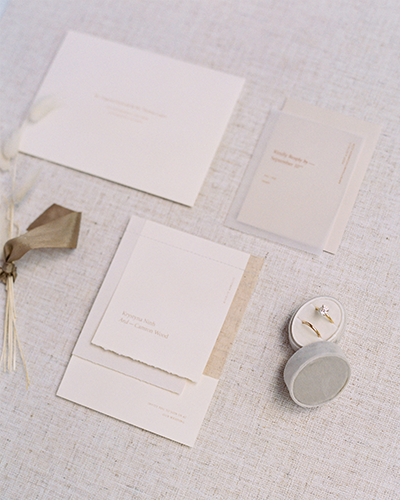 Modern blush and neutral wedding invitation suite from Paper and Toys