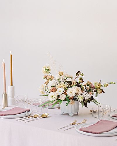 Modern blush and white wedding tablescape