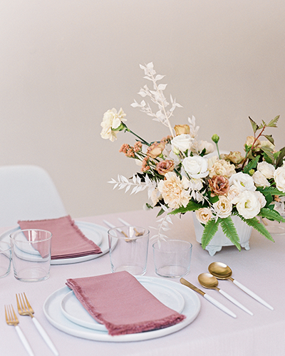 Wedding reception table with blush color palette