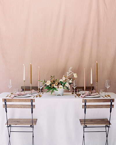 Romantic blush wedding reception table