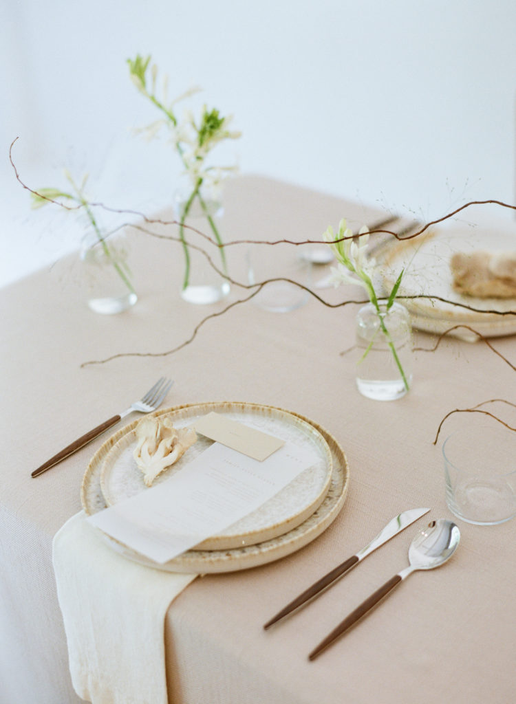 Modern plates with mushroom and place card