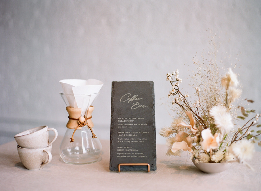 Pour over coffee bar for wedding