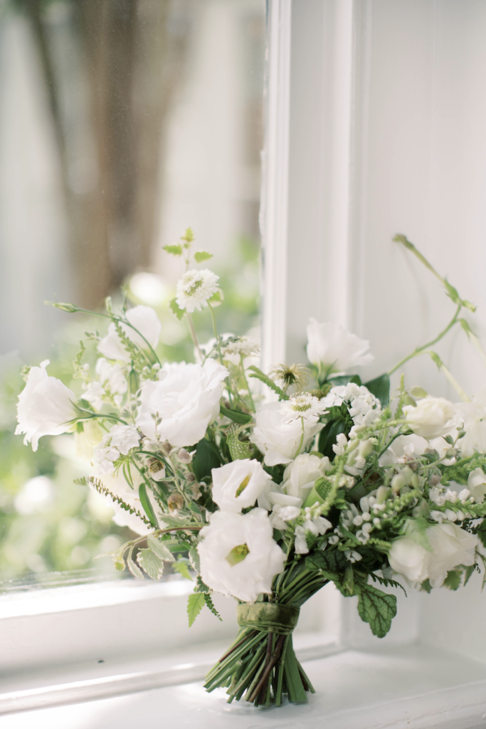 All white wedding floral bouquet