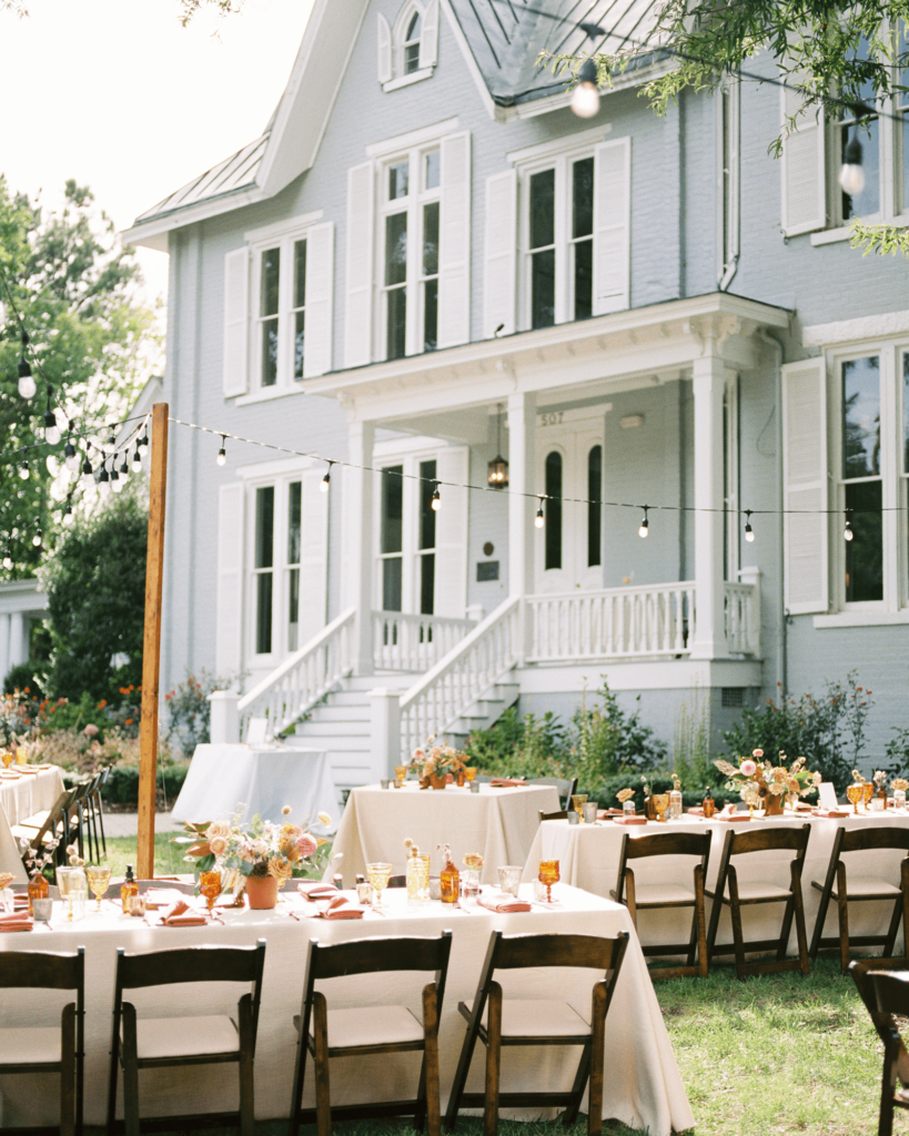 Corrie-and-Kevins-Fall-McAlister-Leftwich-House-Wedding-Kelsey-Nelson-Photography-Al Fresco Reception