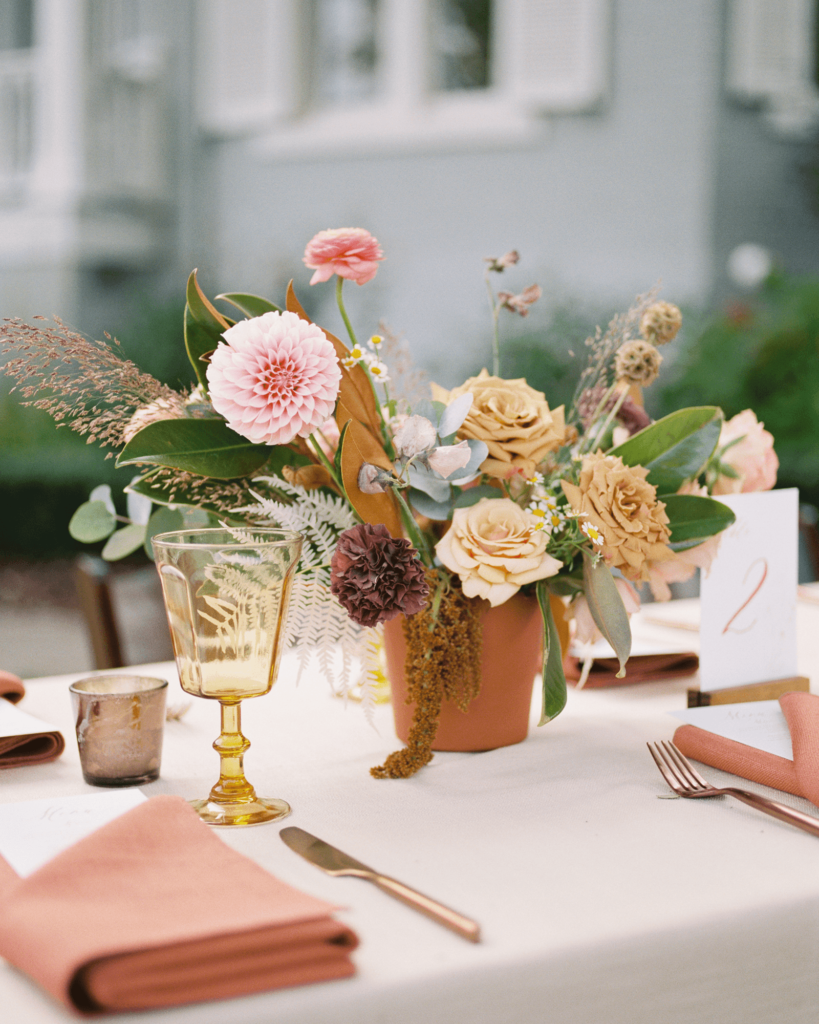 Corrie-and-Kevins-Fall-McAlister-Leftwich-House-Wedding-Kelsey-Nelson-Photography-Boho Flower Arrangement