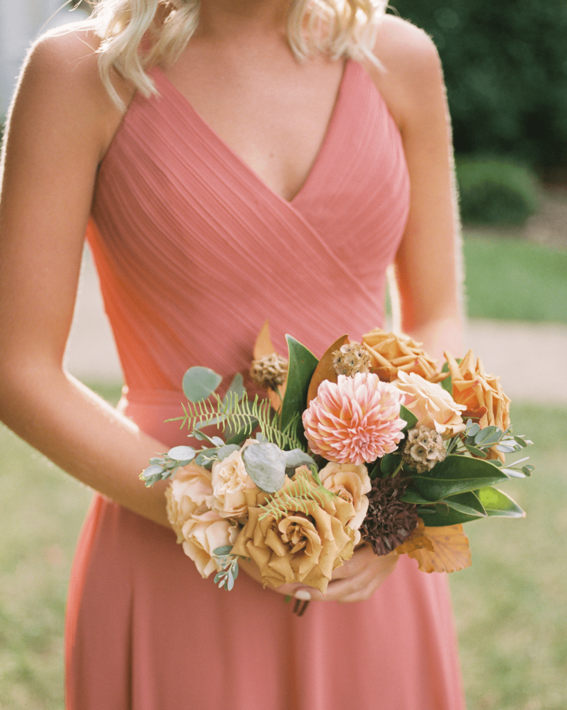 Corrie-and-Kevins-Fall-McAlister-Leftwich-House-Wedding-Kelsey-Nelson-Photography-Bridesmaid Holding Bouquet