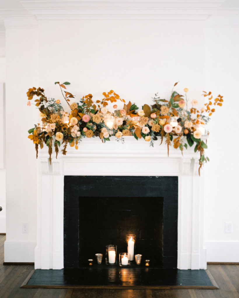 Corrie-and-Kevins-Fall-McAlister-Leftwich-House-Wedding-Kelsey-Nelson-Photography-Ceremony Floral Installation