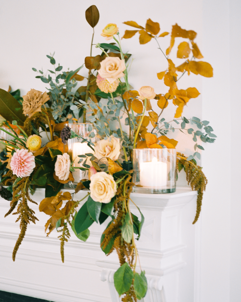 Corrie-and-Kevins-Fall-McAlister-Leftwich-House-Wedding-Kelsey-Nelson-Photography-Ceremony Florals