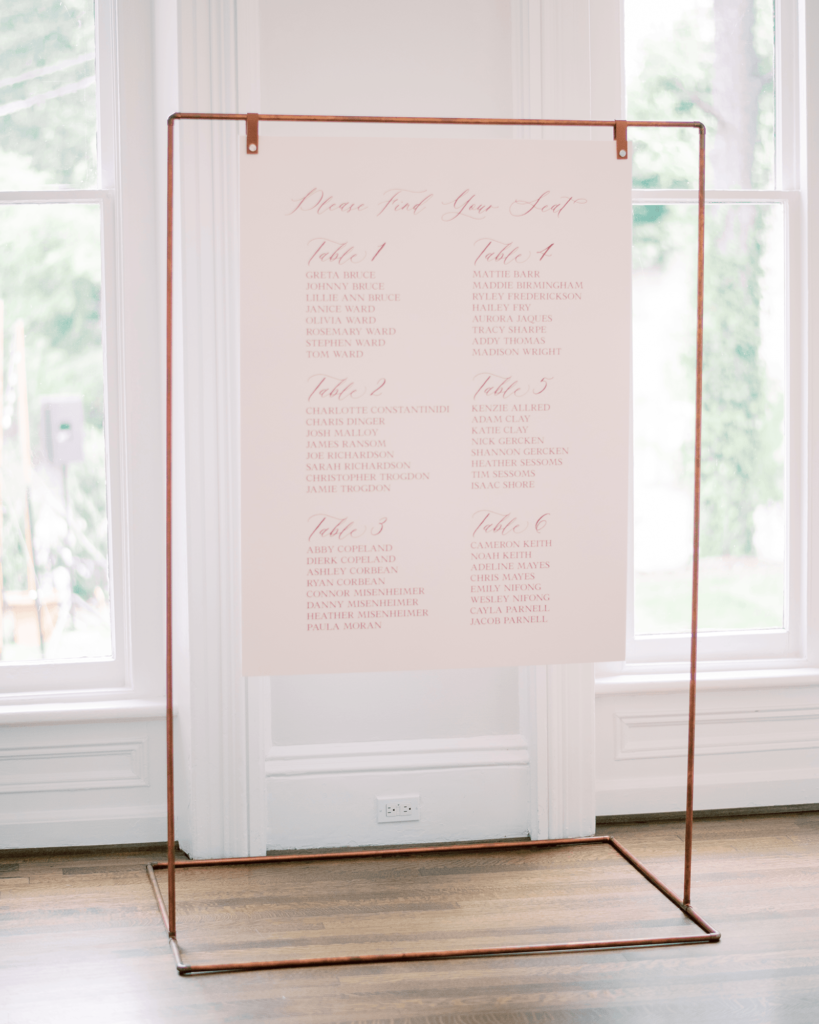 Corrie-and-Kevins-Fall-McAlister-Leftwich-House-Wedding-Kelsey-Nelson-Photography-Escort Card Display